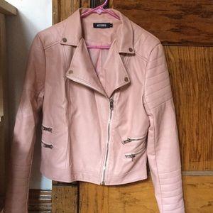 Pink leather moto jacket